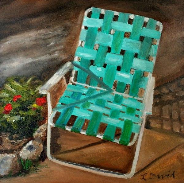 Lisa David daily painting, lawn chair