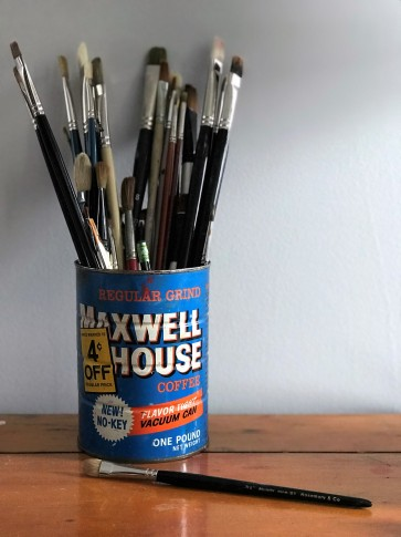 lisa david painting vintage maxwell house coffee can with brushes