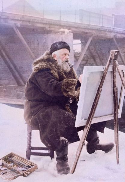 Plein air painter in winter