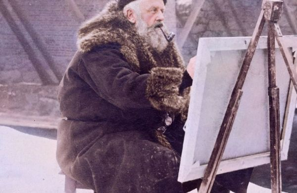 Plein air painter in winter