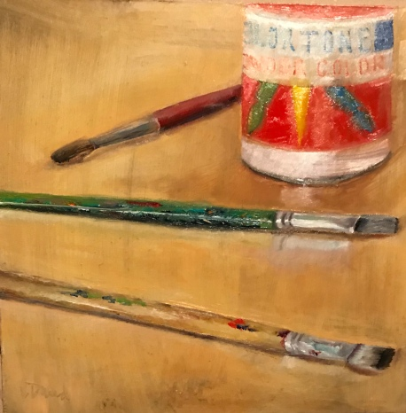 """ART, 8"""" x 8"""" Oil painting by Lisa David Remember wearing your Dad's old shirt and using those long brushes? Art class was the best special of the week."""