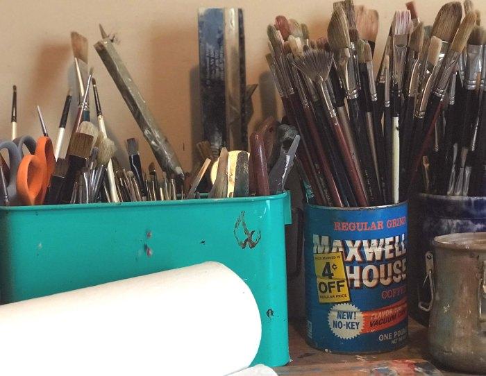 Lisa David artist studio brushes