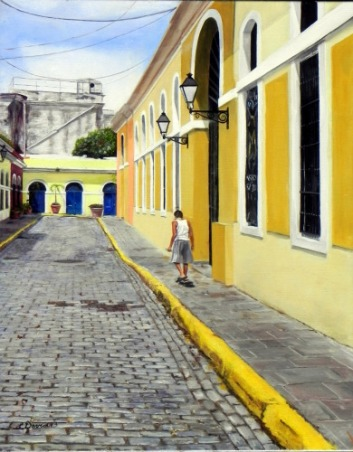 """Painting, Tuesday in Old San Juan, 16"""" x 20"""" Oil"""